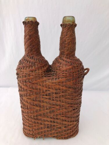 French Hand Blown Bottles in Woven Wicker with Detached Handle, Pair