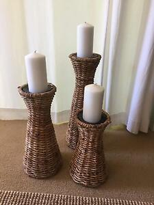 Cane weave candle stands Narraweena Manly Area Preview