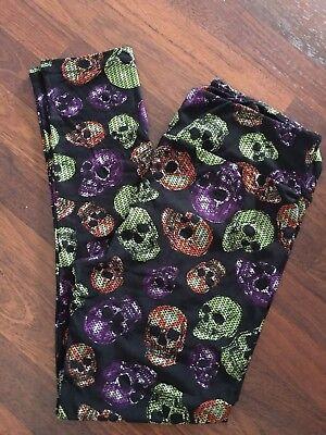 Lularoe Halloween 2017 TC Tall And Curvy New - Skull Skulls Multi Color Unicorns