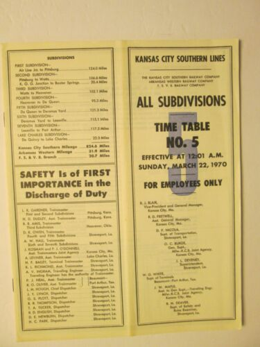 Kansas City Southern Lines Time Table No. 5 March 22, 1970 All Subdivisions