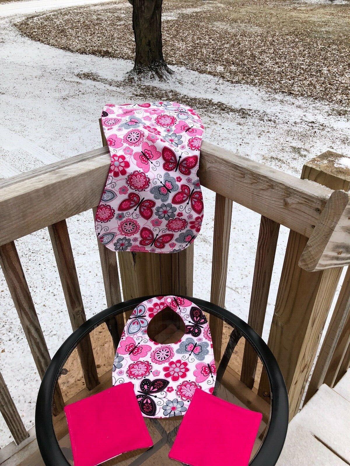 Baby Gift Set Handmade Twin Girls Burp Bib Wash Cloth Flower