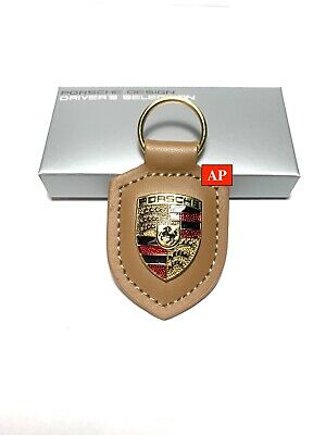 NEW IN BOX OEM PORSCHE CREST genuine Beige leather Keyring Key Chain KeyFob