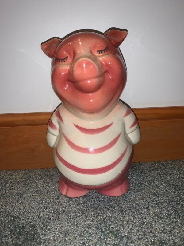 "Royal Copely Smiley Pig Bank 7 3/4"" Height"