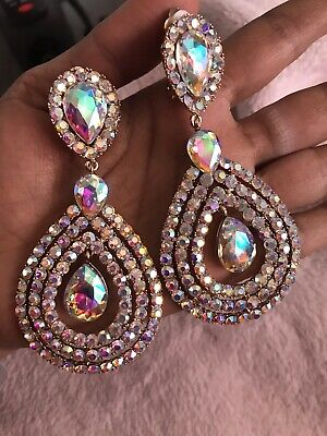 """3.75"""" Long Crystal Gold AB Clear Rhinestone Earrings Dangle Pageant CLIP ON ()"""