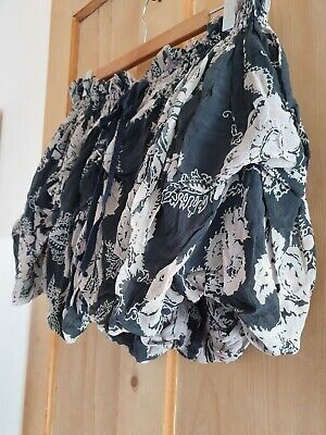 VTG All Saints Draconis Silk Skirt 12 14 Ruched Hitch Bubble Ruffle Steampunk
