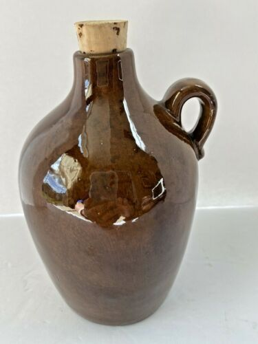 "Ceramic Glazed Jug w/ Cork Stopper Barware Moonshine Whiskey Jug 7"" Vtg Japan"