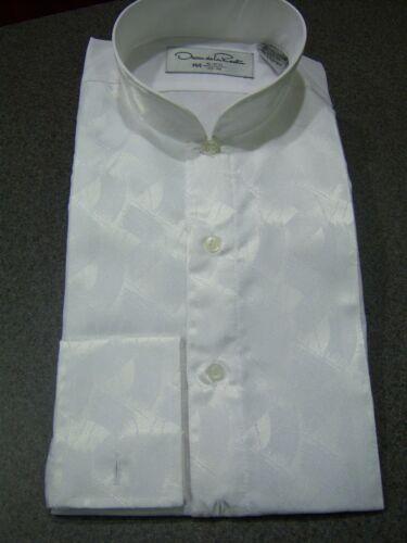 White Allure Banded Collar Formal Shirt by Oscar de la Renta