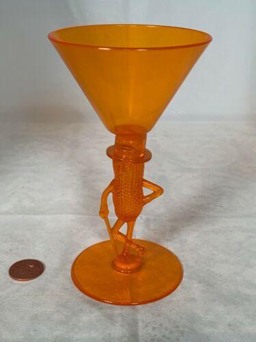 VINTAGE AMBER OR ORANGE PLANTERS MR PEANUT COCKTAIL GLASS
