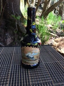 Beautiful Stork Hand-Painted Brown Glass Bottle | Makers Mark