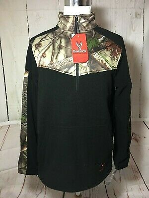 NWT HUNTWORTH-Mens Oak Tree Evo & Black 3/4 Zip Pullover Sweater-Size M - Evo Black Tree
