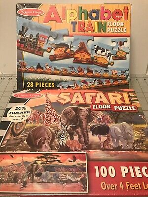 MELISSA & DOUG Safari And Alphabet Train Floor Puzzle