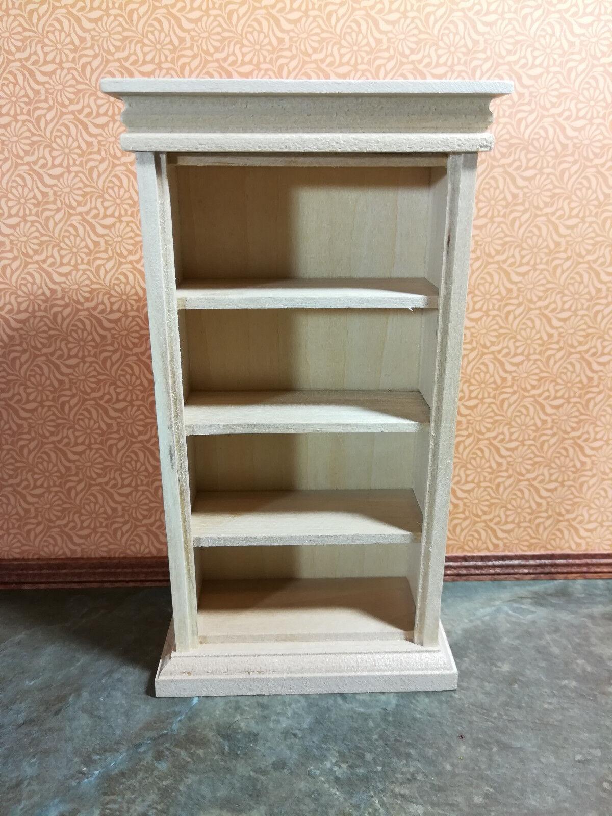 Dollhouse Miniature Bookcase 4 Shelves Unfinished Wood 1 12 Scale Bookshelf