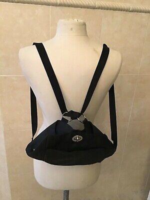 Baggallini Black Nylon Sling Bag Backpack Purse Shoulder Bag Travel Tough Black Nylon Sling