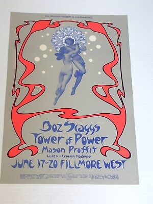BOZ SCAGGS & TOWER OF POWER Psychedelic FILLMORE Poster by DAVID SINGER BG285
