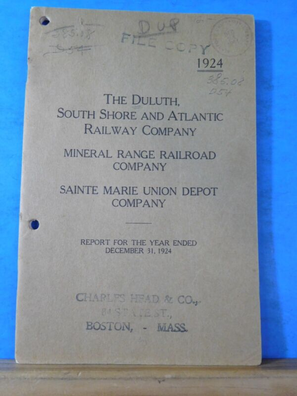 Duluth South Shore & Atlantic Railway Co Annual Report 1924