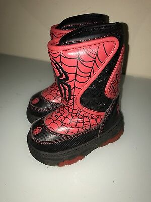 Kids SNOW BOOTS: The Amazing Spider Man; Toddler Boys Size 6; Light Up - Amazing Spider Man Boots