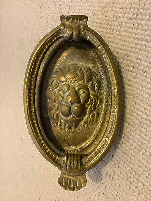 vintage reclaimed brass lions head door knocker