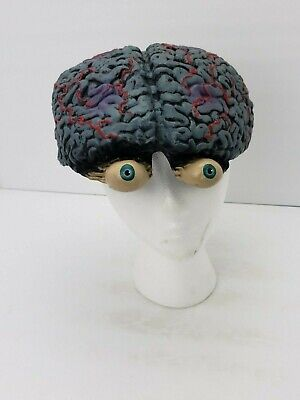 Exposed Brain with Eyeballs Latex Rubber Hat Helmet Mask Halloween costume