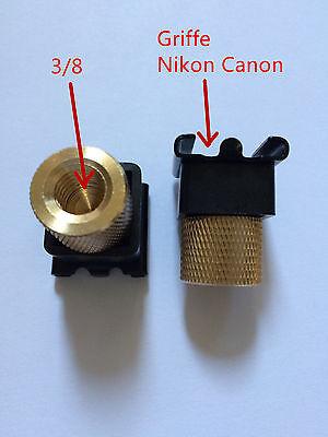 """2X Adaptateur vis 3/8"""" femelle vers Griffe sabot pour Flash Nikon Canon Fuji"""