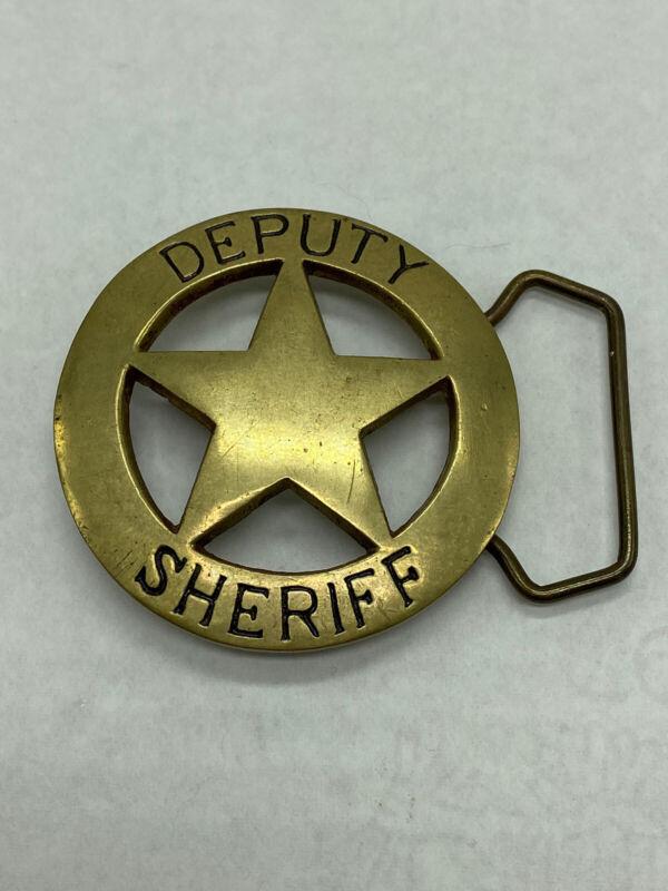 Vintage Deputy Sheriff  5 Point Star Solid Brass Black Lettering Belt Buckle