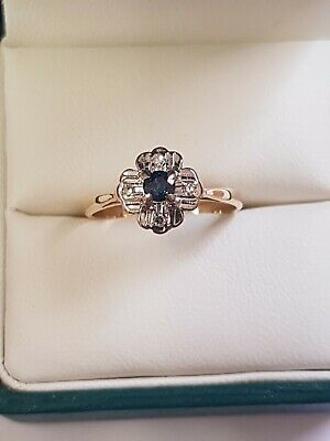 18 ct yellow gold sapphire and diamond ring