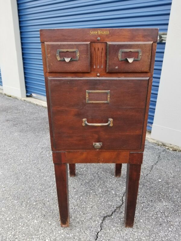 Antique Shaw Walker Mahogany 3 Drawer Filing Cabinet    (53-19)