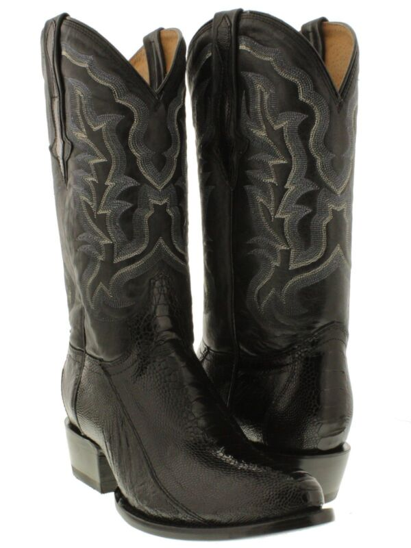Mens, Black, Smooth, Genuine, Ostrich, Skin, Leather, Cowboy, Boots, Western, Round, Toe