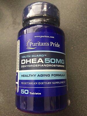 New Sealed Puritans Pride Dhea 50Mg Build Muscle Burn Fat 50 Tabs Vegetarian