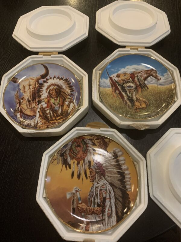 Set Of 3- Paul Calle & Franklin Mint American Indian Heritage Plates Certificate