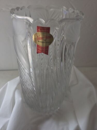 Anne Hutte  Bleikristall Lead Crystal Vase Floral 6 1/2 inches long Made In Germ