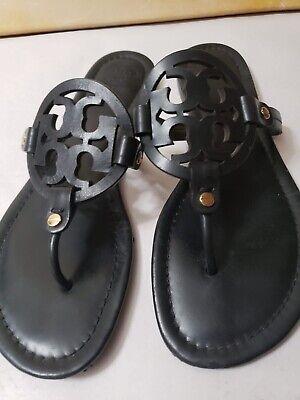 M-977-Tory Burch 'Miller' Flip Flop Black Leather (Women) Sz 9 M
