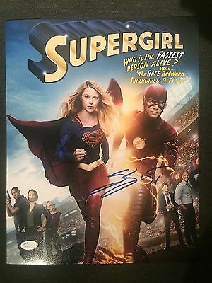 Super Girl Melissa Benoist Grant Gustin Autographed Signed 11X14 Photo Jsa Coa