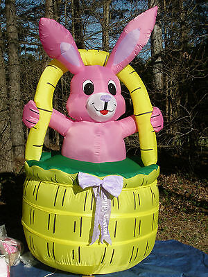 Easter Inflatables (RARE Gemmy 8' Lighted Easter Bunny Rabbit in Basket Airblown Inflatable)