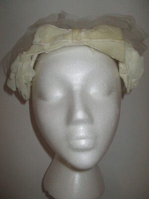 1950s Hats: Pillbox, Fascinator, Wedding, Sun Hats Vintage 1950'S WOMEN'S HAT WHITE union made $24.99 AT vintagedancer.com
