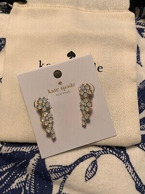 Authentic Kate Spade Flower Ear Pins White Opal Flower Gold Plated Earrings 2019
