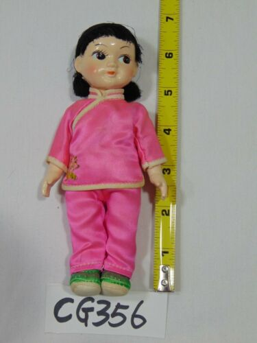 """VINTAGE PEOPLES REPUBLIC OF CHINA CULTURAL REVOLUTION DOLL 6"""" GIRL PINK FLOWER"""