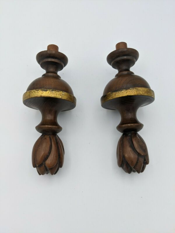 Pair Antique Hand Turned Carved Wood Finials