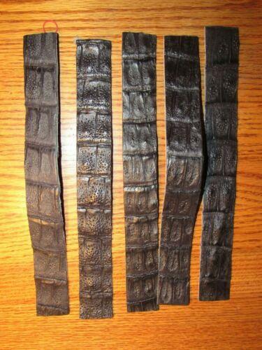 5 SOFT JET BLACK CROCODILE STRIPS Snake Skin, Belts Makers, Watch Straps
