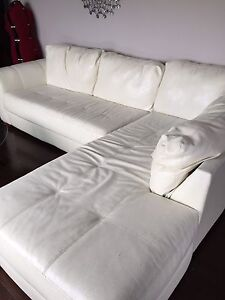 Ivory bonded leather sofa with lounge seat for sale