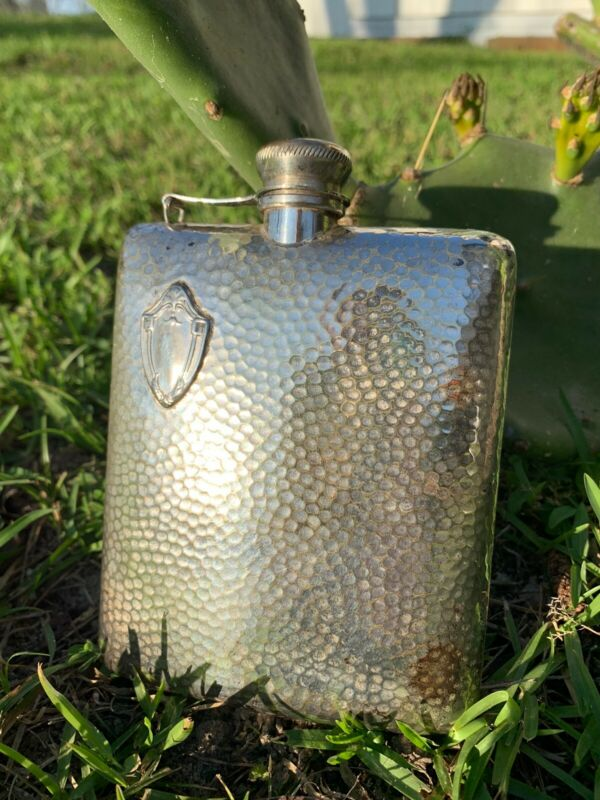 VINTAGE COLLECTIBLE HAND HAMMERED SILVER PLATED FLASK Marked M EPNS