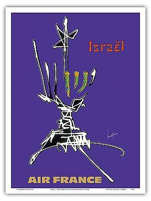 Travel Hanukkah Menorah (Israel Menorah Hanukkah Lamp Vintage Airline Travel Art Poster Print )
