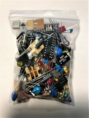 Mixed Lot Grab Bag Electronic Components Caps Resistors Ic Switch Led No Pulls