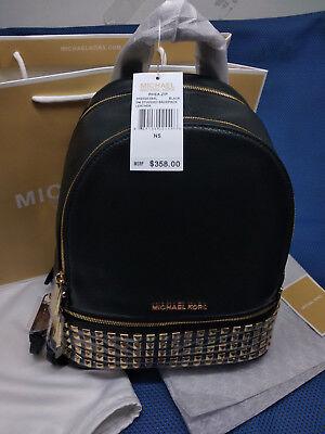 Hot Genuine Michael Kors Rhea Backpack Black stud studded Medium Handbag (Michael Kor Sales)