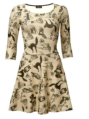 Steampunk Skulls, Owl, Bats, Cats, Spiders Vintage Halloween Skater Flare Dress