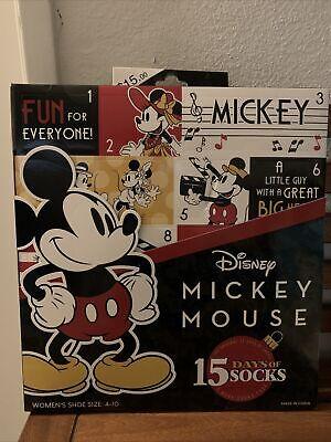 NEW Disney MICKEY MOUSE 15 pairs no show crew socks Advent Calendar women 4-10