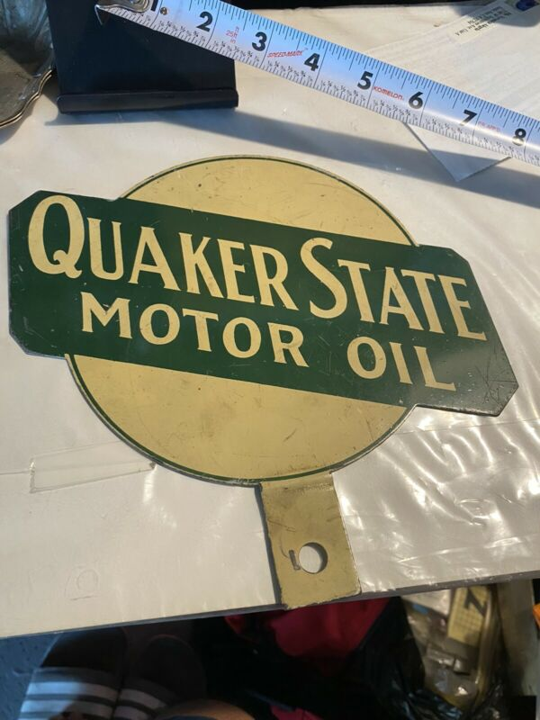 Vintage Quaker State Motor Oil 2 Sided  Lubester Paddle Painted Metal Gas&oil