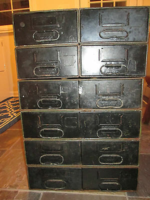 Vintage Safe-t-stak Diebold 12 Drawer Steampunk Industrial Metal Cabinet