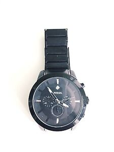 FOSSIL Black Stainless Steel Diamond Accent Watch