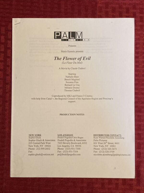 Flower Of Evil La Fleur Du Mal Production Notes Nathalie Baye Claude Chabrol