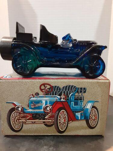 Avon Vintage MINT Stanley Steamer Blue Glass Car. Windjammer Cologne/After Shave